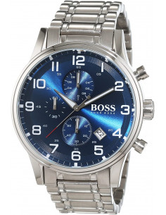 Chic Time | Montre Hugo Boss Aeroliner 1513183 Bracelet acier fond bleu  | Prix : 219,45€