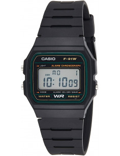 Chic Time | Montre Homme Casio Collection F-91W-3SDG Noir  | Prix : 25,35 €