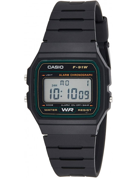 Chic Time | Montre Homme Casio Collection F-91W-3SDG Noir  | Prix : 25,35€