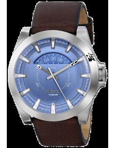 Chic Time | Montre Homme Diesel Arges DZ1661 en cuir brun et Cadran Bleu trotteuse jaune  | Prix : 118,15€