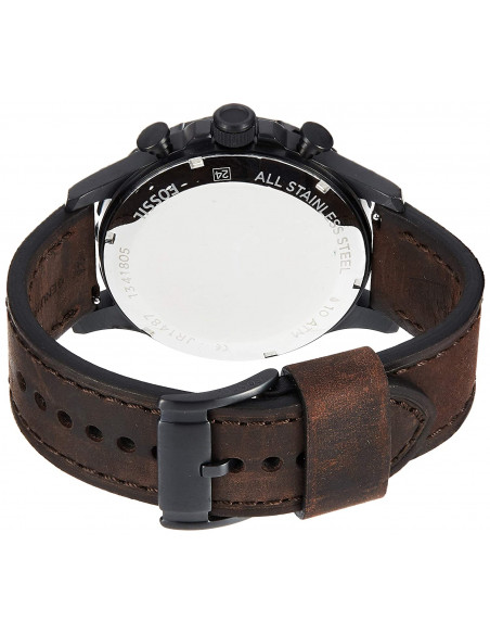 Chic Time | Montre Homme Fossil Nate JR1487 Chronographe gros format cuir brun foncé  | Prix : 169,00€