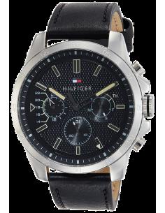 Chic Time | Montre Homme Tommy Hilfiger Iconic 1791563 Cuir Noir bracelet  | Prix : 143,65€