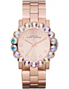 Chic Time | Montre Femme Marc By Marc Jacobs Amy MBM3223 Lunette à 18 pierres irisées  | Prix : 196,00€
