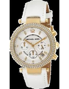 Chic Time | Montre Femme Michael Kors Parker MK2290 Bracelet en cuir blanc  | Prix : 249,00€
