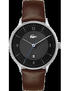 Chic Time | Montre Homme Lacoste 2011116 Bracelet Cuir Marron Fond Noir  | Prix : 209,25€