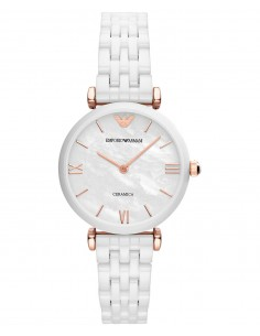 Chic Time | Montre Femme Emporio Armani Classic AR1486 Bracelet blanc en céramique  | Prix : 335,30€