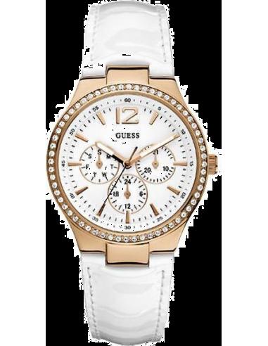 Chic Time | Montre Guess Femme Balcony W13556L1 Bracelet En Cuir Blanc  | Prix : 178,90€