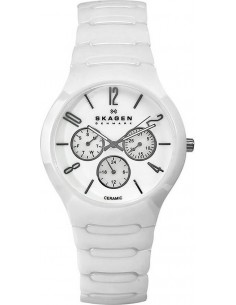 Chic Time | Montre Skagen Céramique 817SXWC1 Chrono bracelet et cadran blancs  | Prix : 114,50€