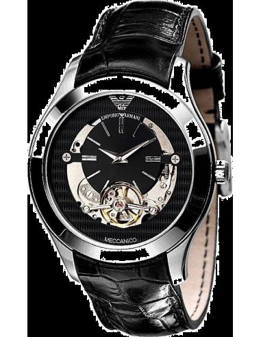 Chic Time | Montre Homme Emporio Armani Meccanico AR4640 Bracelet En Cuir Noir  | Prix : 385,00€