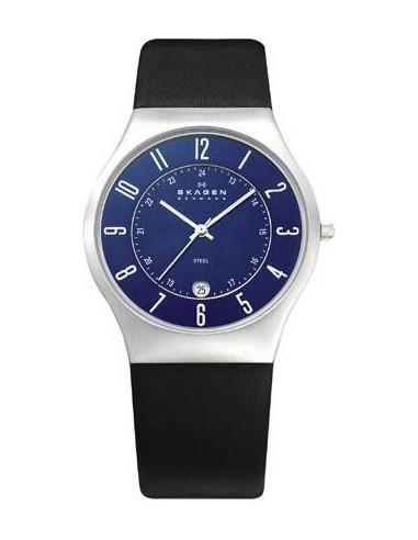 Chic Time   Montre Homme Skagen 233XXLSLN Bracelet Cuir Fond Bleu    Prix : 99,00€