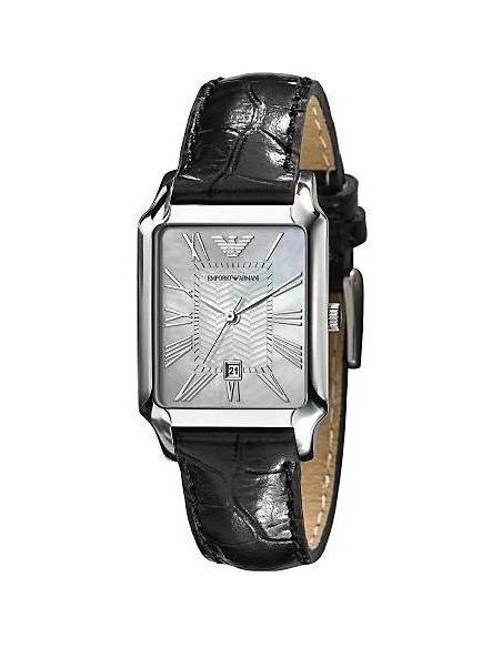 Chic Time | Montre Emporio Armani Femme AR0413 Bracelet En Cuir Noir Fond Nacre  | Prix : 195,90€
