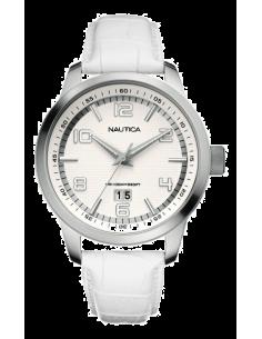 Chic Time | Montre Homme Nautica A13559G Bracelet cuir blanc  | Prix : 57,25€