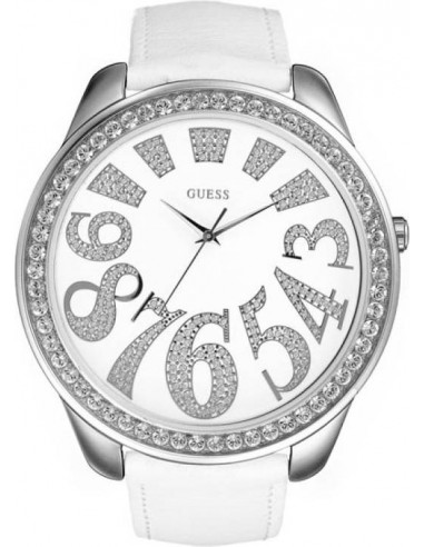 Chic Time | Montre Guess Femme White Glitz Bracelet En Cuir Blanc  | Prix : 99,90€