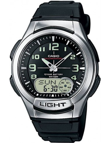 Chic Time | Montre Homme Casio Collection AQ-180W-1BVEF Cadran rond mixte analogique et digital bracelet noir  | Prix : 40,00€