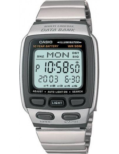 Chic Time | Montre Homme Casio Data Bank DB-37HD-7AVDF Bracelet Argenté En Acier Inoxydable  | Prix : 42,90€