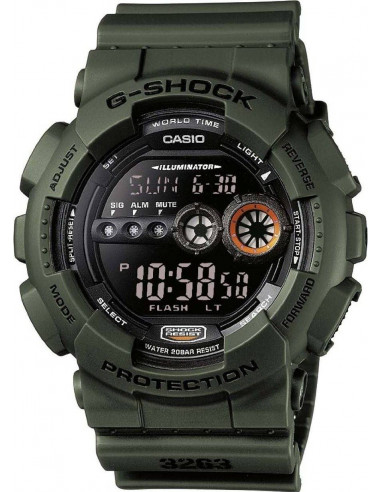 Chic Time | Montre Homme Casio G-Shock GD-100MS-3ER Vert  | Prix : 99,00 €