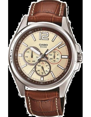 Chic Time | Montre Homme Casio Collection MTP-1355L-9AVEF Bracelet Cuir Marron  | Prix : 71,00€