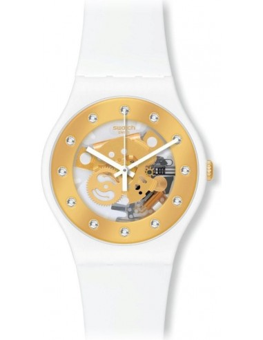Chic Time   Montre Femme Swatch Originals Sunray Glam SUOZ148 Blanche & Or    Prix : 65,00€