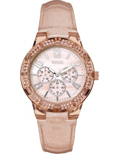 Chic Time | Montre Femme Guess W0142L1 Or Rose et Strass  | Prix : 249,00 €