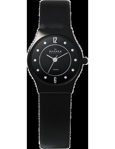 Chic Time   Montre Femme Skagen 233XSCLB Studio Ceramic Bracelet Cuir Noir    Prix : 109,99€