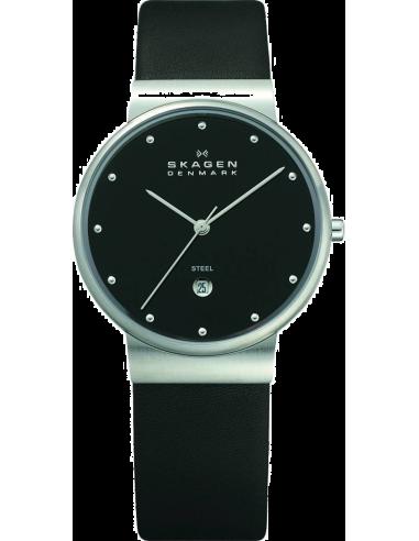 Chic Time | Montre Homme Skagen 355LSLB Bracelet Cuir Noir SlimLine  | Prix : 59,50€