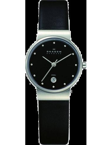 Chic Time | Montre Femme Skagen 355SSLB Bracelet Cuir Noir Slimline  | Prix : 109,90€