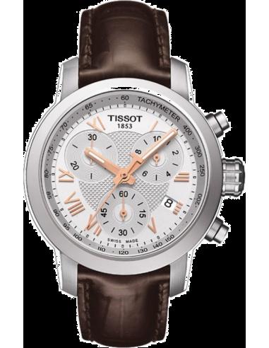 Chic Time | Montre Femme Tissot PRC 200 T0552171603302 - Bracelet Marron en cuir  | Prix : 396,00€