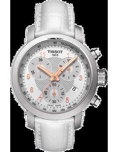 Chic Time | Montre Femme Tissot PRC 200 T0552171603201 Bracelet Cuir Blanc  | Prix : 396,00€