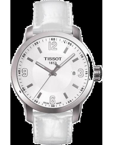 Chic Time   Montre Homme Tissot PRC 200 T0554101601700 - Bracelet Cuir Blanc    Prix : 330,00€