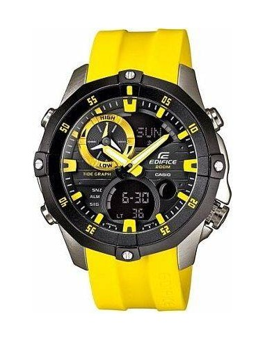 Chic Time | Montre homme Casio Edifice EMA-100B-1A9VUEF Bracelet résine jaune  | Prix : 159,99€