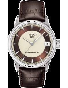 Chic Time | Montre Femme Tissot Luxury Automatic T0862071626100 - Bracelet cuir brun  | Prix : 730,00€