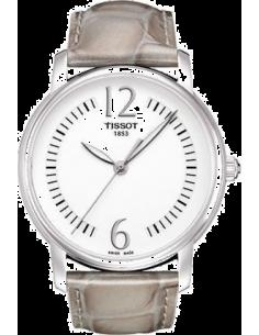 Chic Time | Montre Femme Tissot Lady Round T0522101603701 - Bracelet cuir gris  | Prix : 284,40€