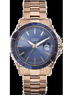 Chic Time | Guess  - Montre Mixte Guess W0244G3 à cadran bleu et bracelet or rose  - Prix : 199,00 €