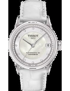 Chic Time | Montre Femme Tissot Luxury Automatic Lady COSC T0862081611600 Bracelet en cuir blanc  | Prix : 945,60€