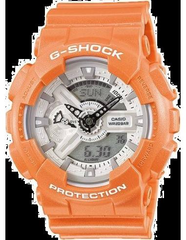 Chic Time | Montre Homme Casio G-Shock GA-110SG-4ER bracelet orange en résine  | Prix : 103,20€