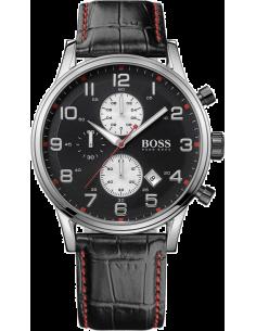 Chic Time | Montre Homme Hugo Boss Sport 1512631 Bracelet croco en cuir noir et surpiqûres rouges  | Prix : 279,65€