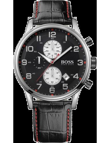 Chic Time | Montre Homme Hugo Boss Sport 1512631 Bracelet croco en cuir noir et surpiqûres rouges  | Prix : 296,10€