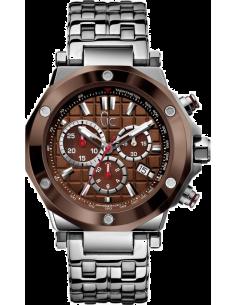 Chic Time | Montre Homme GC Guess Collection GC Chrono X72015G4S Bracelet en acier et lunette marron  | Prix : 599,93€