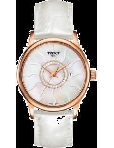 Chic Time | Montre Femme Tissot T-Gold Rose Dream T9142104611600 Bracelet en cuir blanc  | Prix : 1,520.00