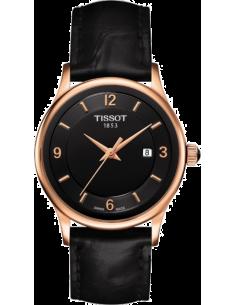 Chic Time | Montre Femme Tissot T-Gold Rose Dream T9142104605700 Bracelet en cuir noir  | Prix : 1,171.20