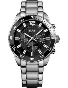 Chic Time | Montre Homme Hugo Boss Iconic 1512806 Bracelet en acier inoxydable et cadran noir  | Prix : 424,15€