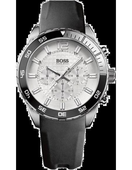 Chic Time | Montre Homme Hugo Boss Iconic 1512805 Bracelet noir en caoutchouc  | Prix : 233,40€