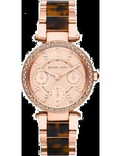 Chic Time | Montre Femme Michael Kors Parker MK5841 Bracelet en acier or rose et écailles de tortue  | Prix : 254,15€