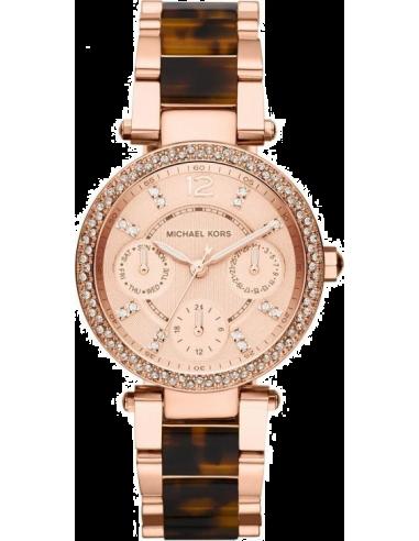 Chic Time | Montre Femme Michael Kors Parker MK5841 Bracelet en acier or rose et écailles de tortue  | Prix : 179,40€