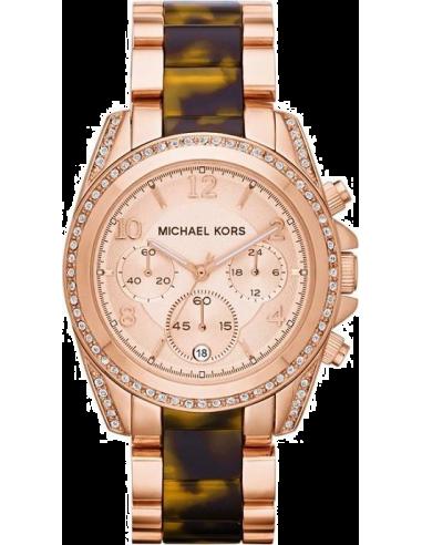 Chic Time   Montre Femme Michael Kors Blair MK5859 Bracelet écailles de tortue et acier or rose    Prix : 254,15€