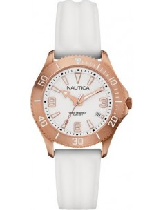 Chic Time | Montre Femme Nautica NAC 102 A14648M Bracelet en silicone blanc  | Prix : 145,00€