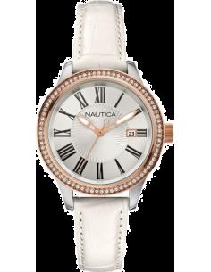 Chic Time | Montre Femme Nautica BFD 101 A12653M Bracelet en cuir blanc  | Prix : 125,00€