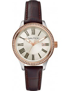 Chic Time | Montre Femme Nautica BFD 101 A12654M Bracelet en cuir brun  | Prix : 125,00€