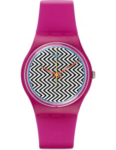 Chic Time | Montre Swatch Pink Fuzz GP142 Bracelet en silicone rose  | Prix : 25,00€