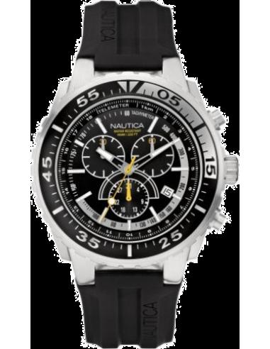 Chic Time | Montre Homme Nautica NST 700 A14675G Multifonction Bracelet en résine noire  | Prix : 145,00€